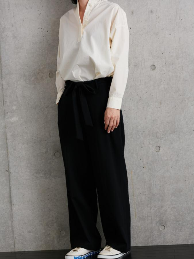 FRONT RIBBON WIDE PANTS