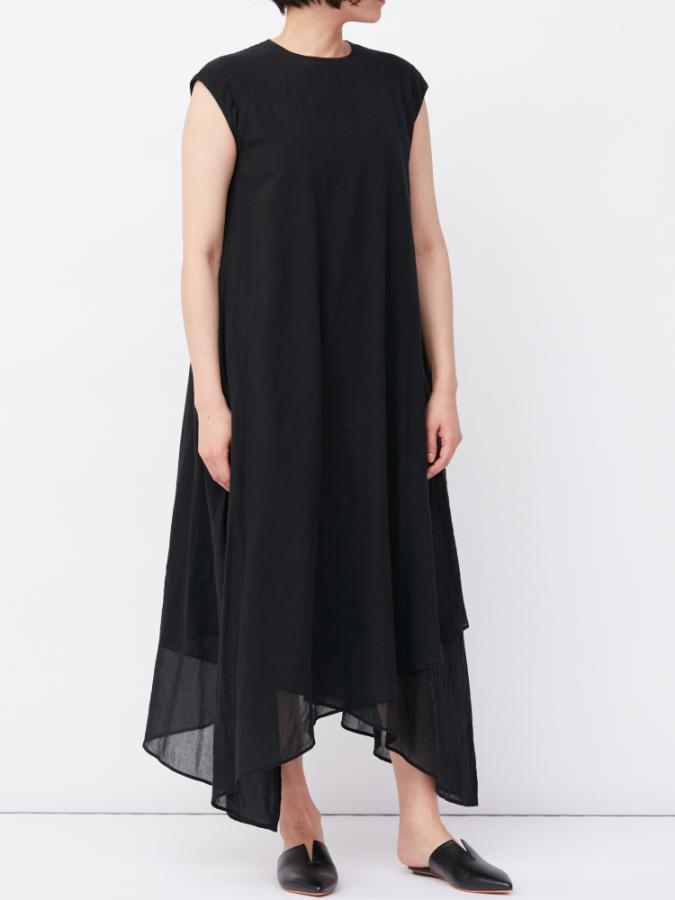 COTTON CHIFFON HEM DRESS