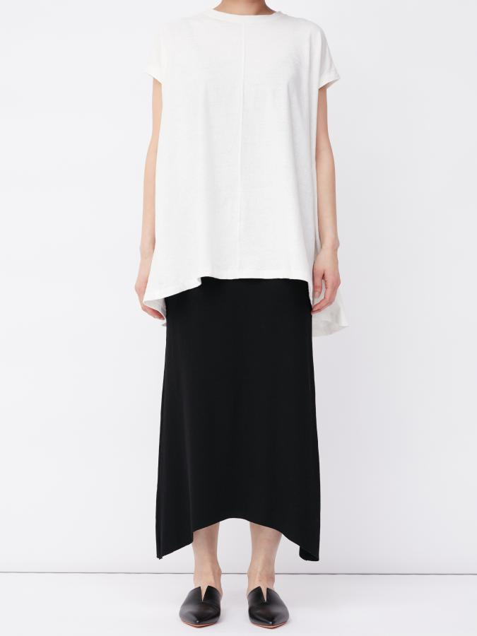RIB ASYMMETRY HEM SKIRT