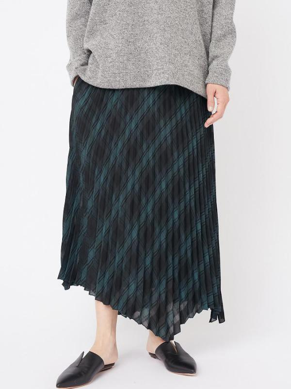 CHECK PLEAT HEM SKIRT