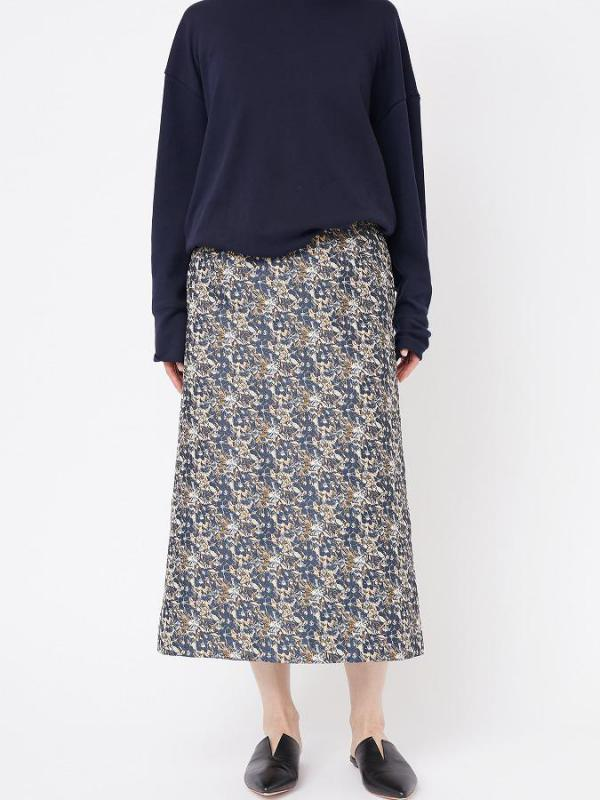 FLOWER JACQUARD MIDI SKIRT