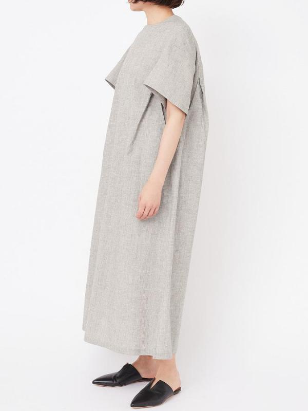 SHEETING WASHER CREW NECK LONG DRESS