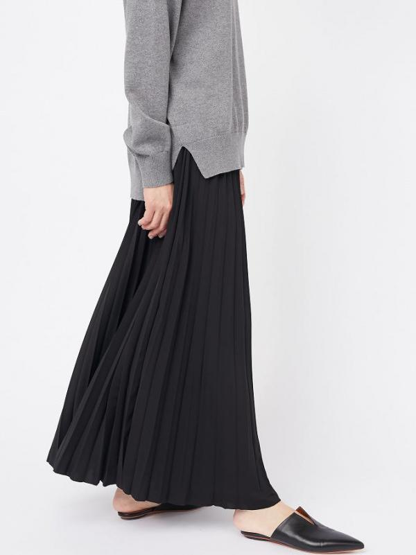 PLEATED JERSEY LONG SKIRT
