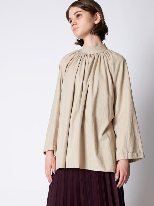 High neck gathers blouse