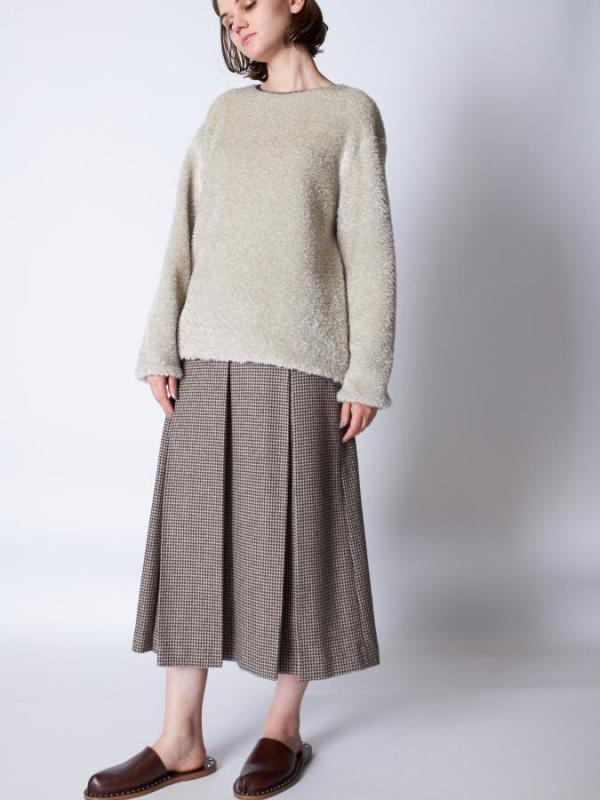 Check Box Pleated Skirt