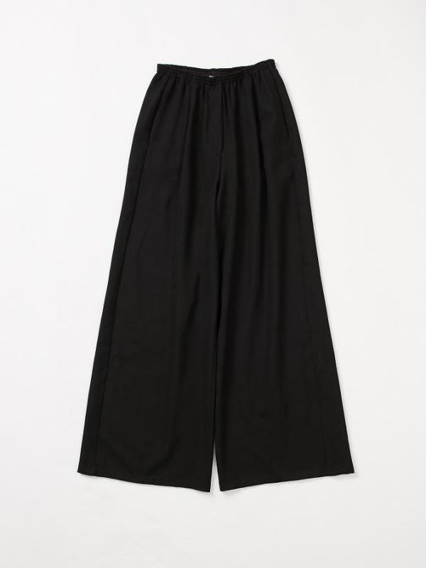 Wide trousers with elasticated waist