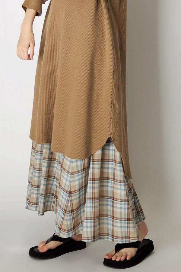 Check Long Skirt