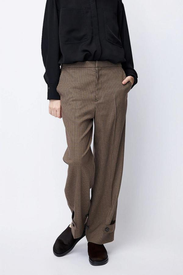 Ankle Detail Dobby Check Pants