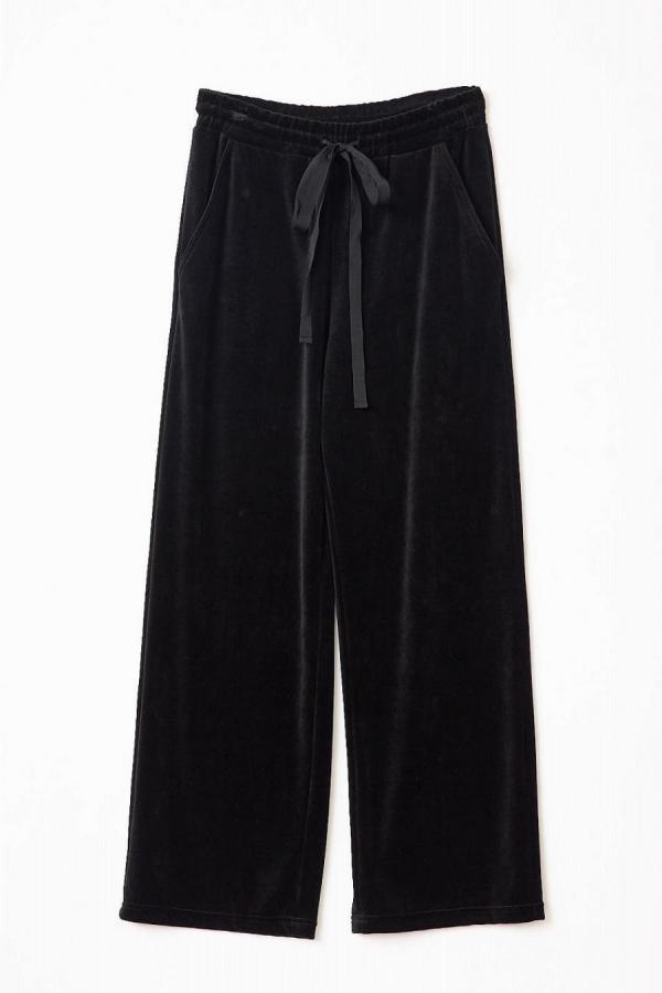 Cotton Velour Wide-Leg Pants