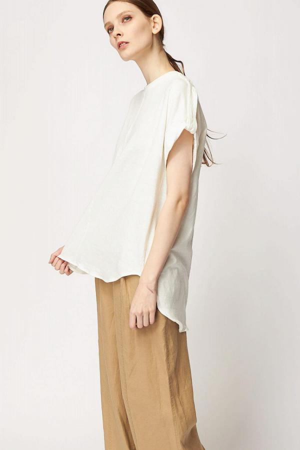 Cotton Linen Roll-up Top