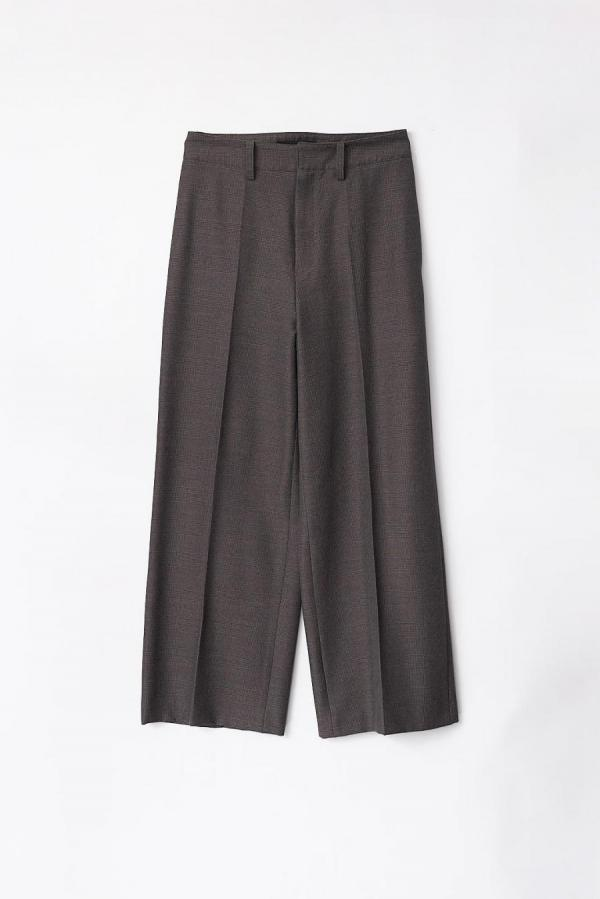 GLEN CHECK WIDE TROUSERS