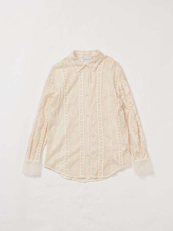 Shirt in cotton lace with inserts