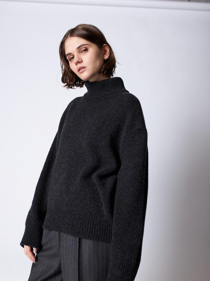 High Neck Knit Pullover