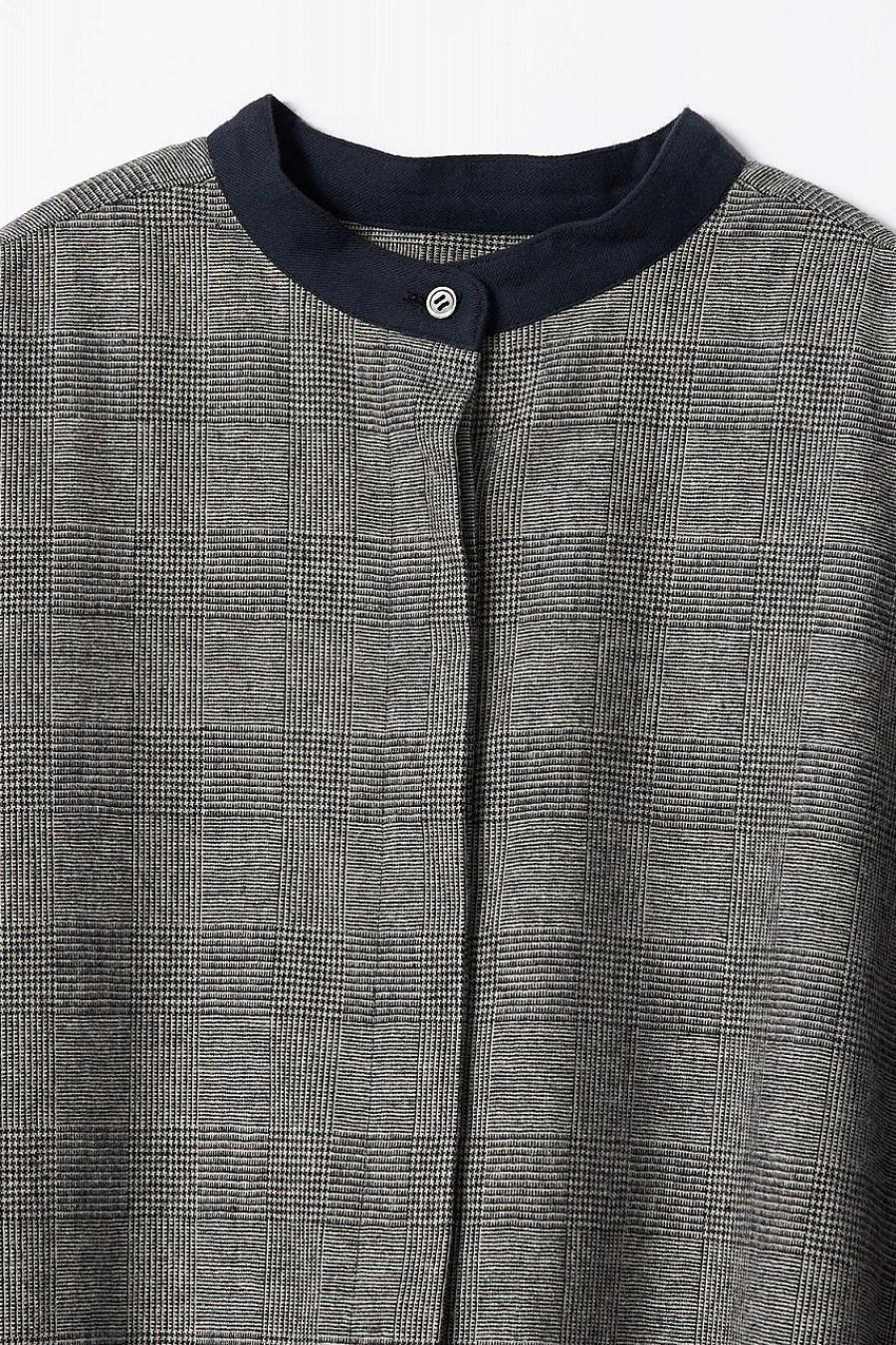 Glencheck Band Collar Shirt