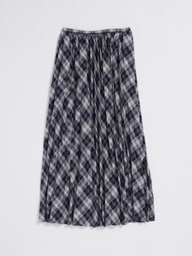 PLEATED MAXI SKIRT IN CHECK